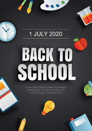 Back to school poster with education items on black background in paper art style. 免版税图像