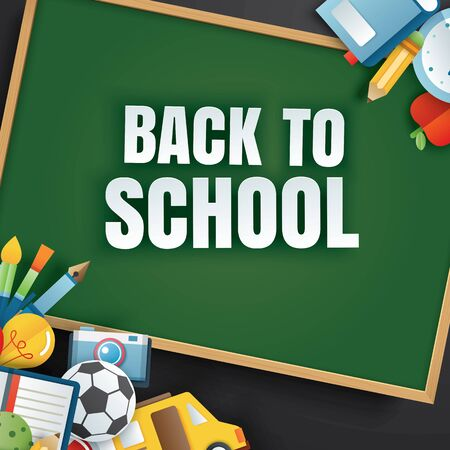 Back to school banner with education items and green chalkboard on black background in paper art style.