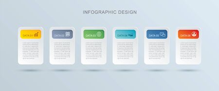 6 data infographics tab paper index template. Vector illustration abstract background. Can be used for workflow layout, business step, banner, web design. 免版税图像