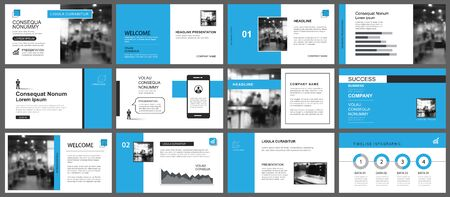 Presentation and slide layout template. Design blue geometric background. Use for business annual report, flyer, marketing, leaflet, advertising, brochure, modern style.