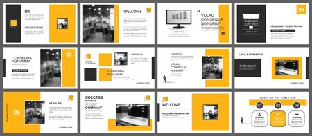 Presentation and slide layout template. Design yellow geometric background. Use for business annual report, flyer, marketing, leaflet, advertising, brochure, modern style.