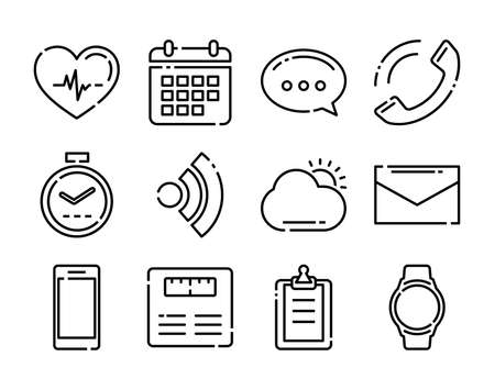 Thin line icons fitness tracker technology data with applications in smartwatch.