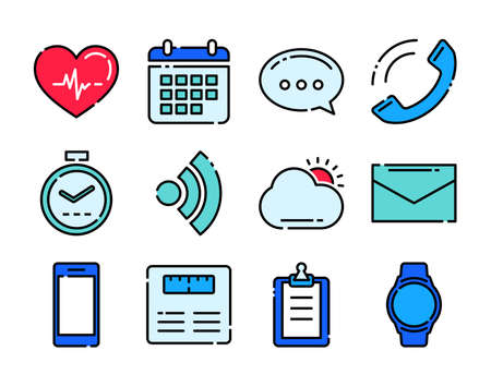 Fitness icons tracker technology data with applications in smartwatch. 矢量图像