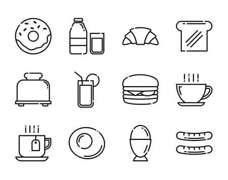 Breakfast icons set. Thin line style. Vector Illustratie