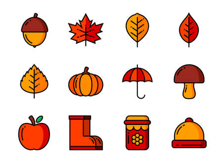 Autumn icon set color and thin line. Symbols for website, magazine, app and design.
