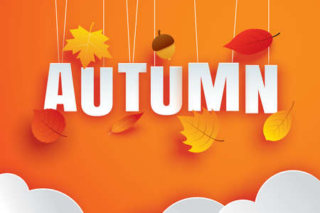 Autumn paper art style cloud and leaves hanging on orange background. Use for greeting card or invitation.