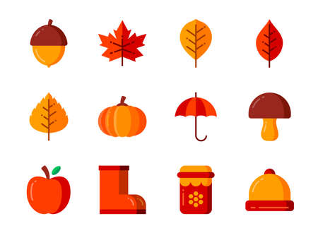 Autumn icon set with flat color style. Symbols for website, magazine, app and design. 矢量图像