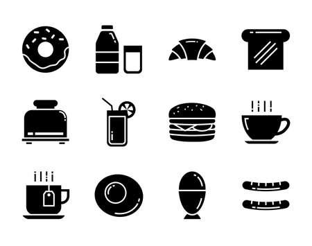 Set of breakfast icon flat design. Symbols for website, magazine, app and design.