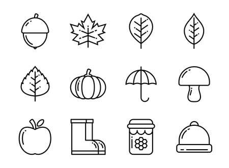 Autumn icon set thin line style. Symbols for website, magazine, app and design.
