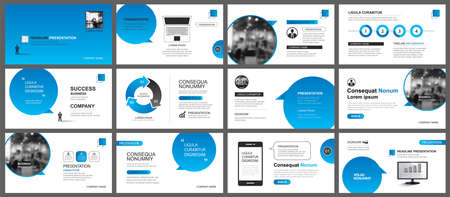 Presentation and slide layout template. Design blue gradient in paper speech shape background. Use for business annual report, flyer, marketing, leaflet, advertising, brochure, modern style. 矢量图像