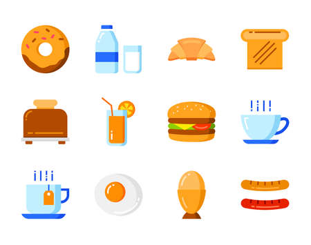 Set of breakfast icon flat color style. Symbols for website, magazine, app and design.