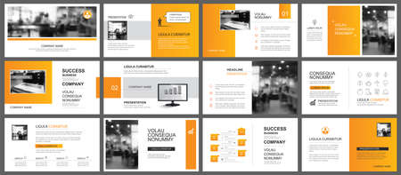 Presentation and slide layout autumn theme template. Design orange gradient background. Use for business annual report, flyer, marketing, leaflet, advertising, brochure, modern style. 矢量图像