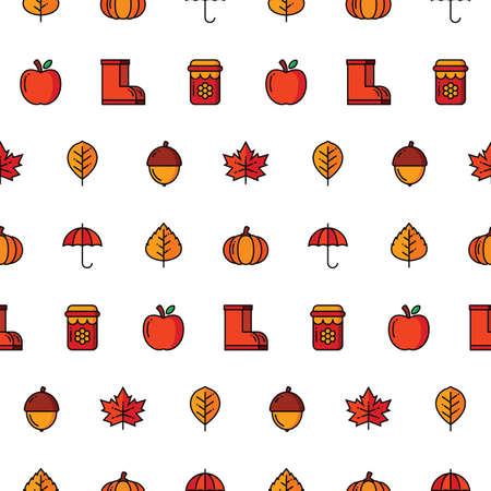 Autumn icon seamless pattern.