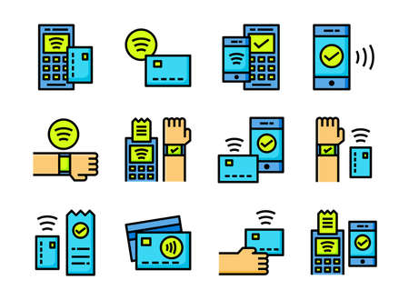 Contactless payment icon colorline style. Symbols for website, magazine, app and design.