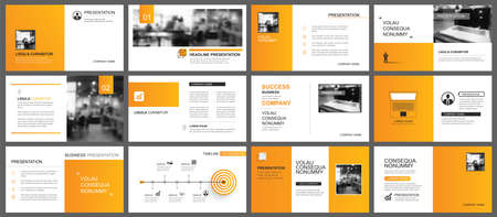 Presentation and slide layout autumn theme template. Design orange gradient background. Use for business annual report, flyer, marketing, leaflet, advertising, brochure, modern style. Vettoriali