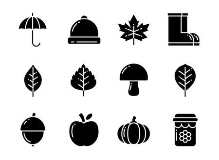 Autumn icon set with solid style. Symbols for website, magazine, app and design. 矢量图像