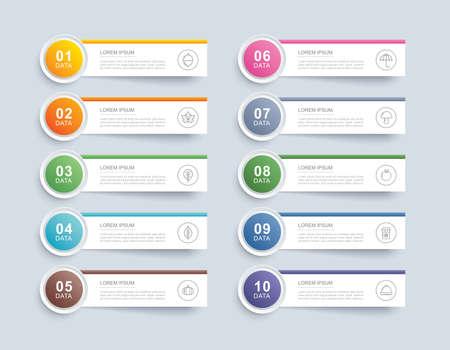 10 data infographics tab paper index template. Vector illustration abstract background. Can be used for workflow layout, business step, banner, web design. 矢量图像