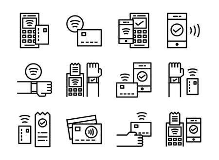Contactless payment icon thinline style. Symbols for website, magazine, app and design. 矢量图像