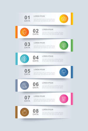 8 data infographics tab paper index template. Vector illustration abstract background. Can be used for workflow layout, business step, banner, web design.