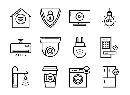 Home smart devices icon set thin line style. Symbols for website, magazine, app and design. 矢量图像