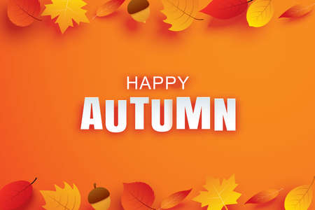 Happy autumn paper art style with leaves hanging on orange background. Use for greeting card or invitation.
