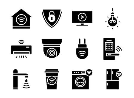 Home smart devices icon set black solid style. Symbols for website, magazine, app and design.