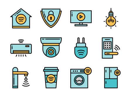 Home smart devices icon set colorline style. Symbols for website, magazine, app and design. 矢量图像
