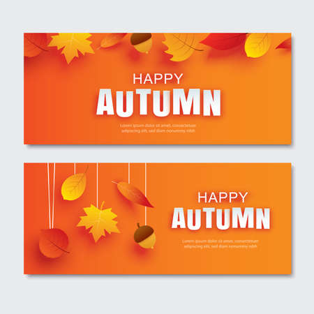 Happy autumn paper art style with leaves hanging on orange background. Use for banner, greeting card or invitation.