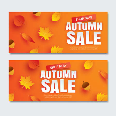 Autumn sale with leaves in paper art style on orange background. Use for voucher, banner, coupon.