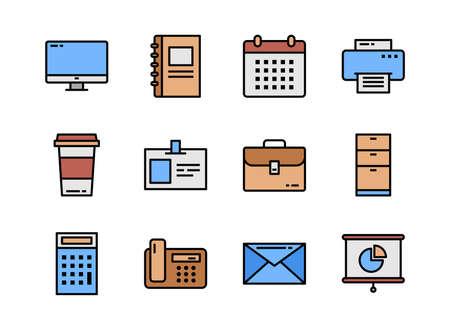 Office icon set colorline style. Symbols for website, magazine, app and design. 矢量图像