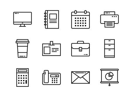 Office icon set outline style. Symbols for website, magazine, app and design.