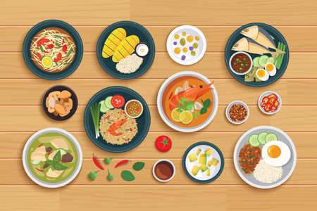 Thai food and ingredient on a wooden background. 矢量图像