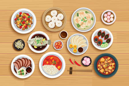 Chinese food on top view wooden background. Vecteurs