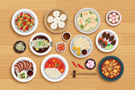 Chinese food on top view wooden background. Ilustração Vetorial
