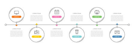 6 circle data timeline infographics template with thin line design. Vector illustration abstract background. Can be used for workflow layout, business step, banner, web design.