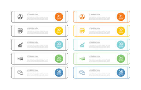 10 data infographics tab index template with thin line design. Vector illustration abstract background. Can be used for workflow layout, business step, banner, web design.