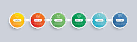 6 circle step infographic with abstract timeline template. Presentation step business modern background.
