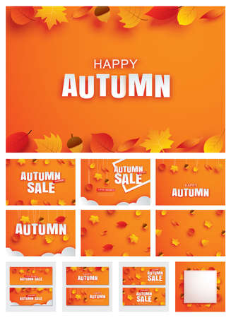 Happy autumn fall set invitation and sale paper art style with leaves on orange background.