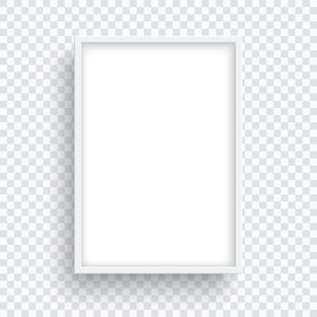 Rectangle white frame isolated on transparent background.