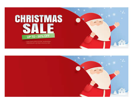 Santa claus and a huge bag of gifts with christmas sale promotion. Vektorové ilustrace