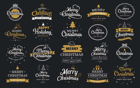 Merry christmas and happy new year typography label with symbols design set. Use for sticker, badge, crafts, greeting card.