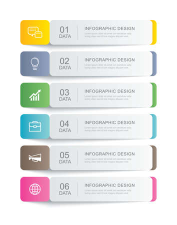6 data infographics tab paper thin line index template. Vector illustration abstract background. Can be used for workflow layout, business step, banner, web design.
