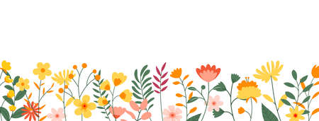 Flowers and leaves horizontal background. Floral spring backdrop with copy space for text. Vektoros illusztráció