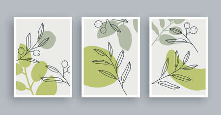 Botanical wall art painting background. Foliage art and hand drawn line with abstract shape. Mid century scandinavian nordic style.