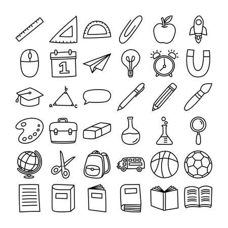 Back to school icon set doodle style. Education hand drawn objects and symbols with thin line. 矢量图像