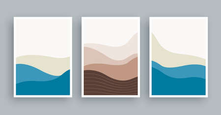 Abstract landscapes mountains wall art painting. Minimalist shape elements hand drawn background.