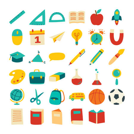 Back to school icon set flat color style. Education hand drawn objects and symbols. 矢量图像