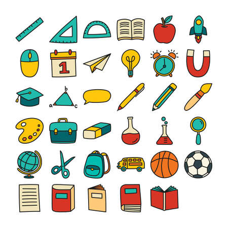 Back to school icon set filled outline style. Education hand drawn objects and symbols. 矢量图像