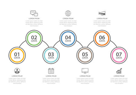 7 data infographics tab thin line index template. Vector illustration abstract background. Can be used for workflow layout, business step, banner, web design.