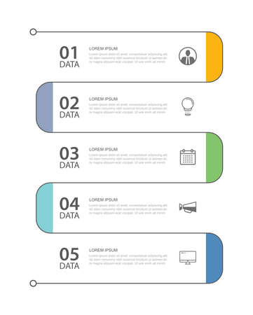 5 data infographics tab thin line index template. Vector illustration abstract background. Can be used for workflow layout, business step, banner, web design.